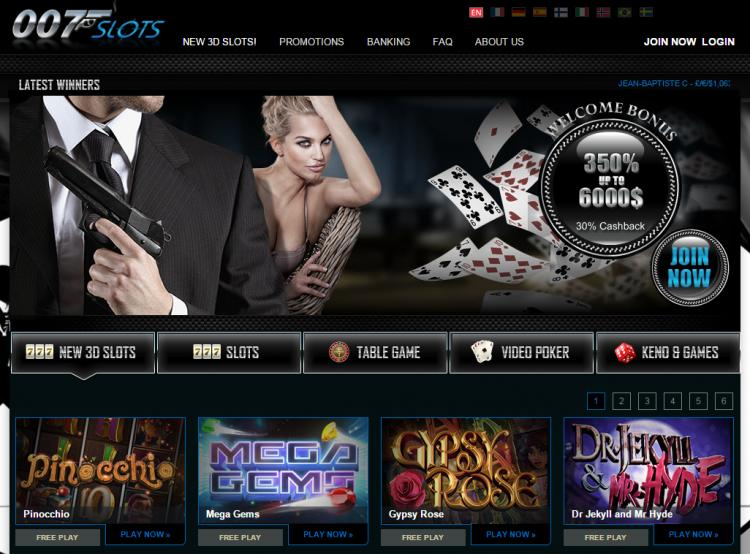 007 Slots homepage image