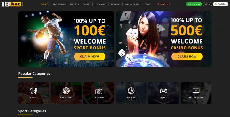 18 Bet homepage image