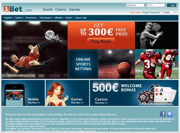 1BET homepage image