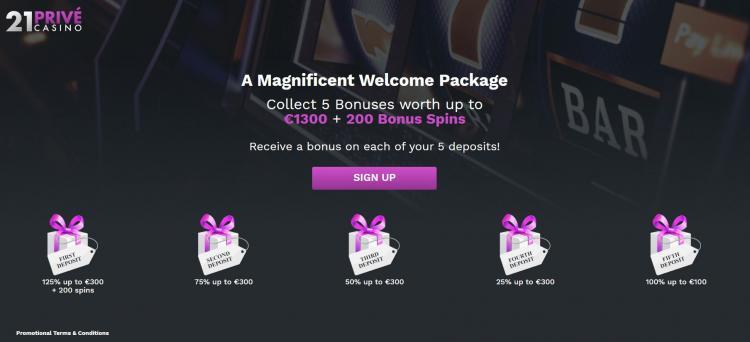 21 Prive Casino homepage image