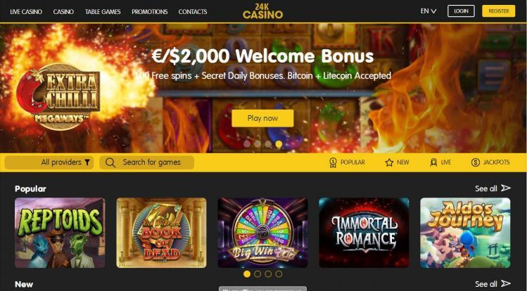 24K Casino homepage image