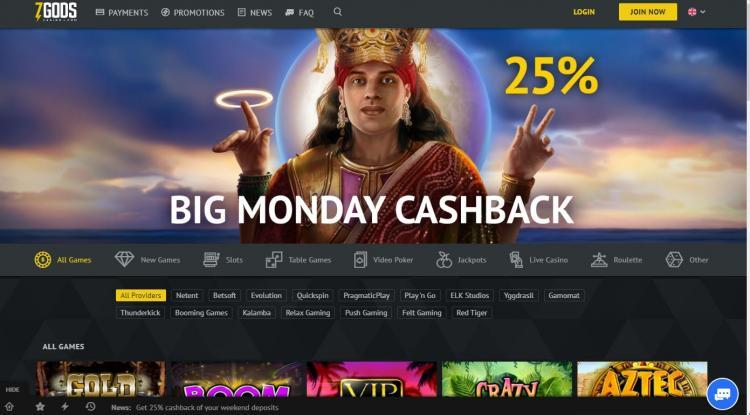 7 Gods Casino homepage image