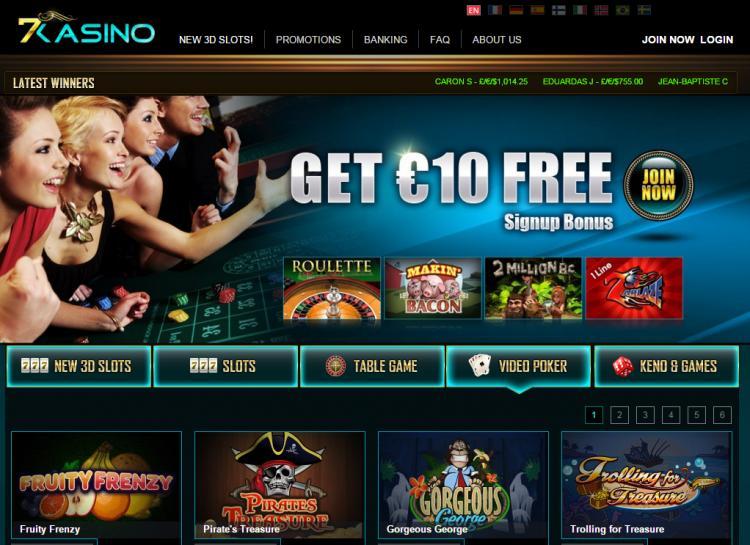 7Kasino homepage image