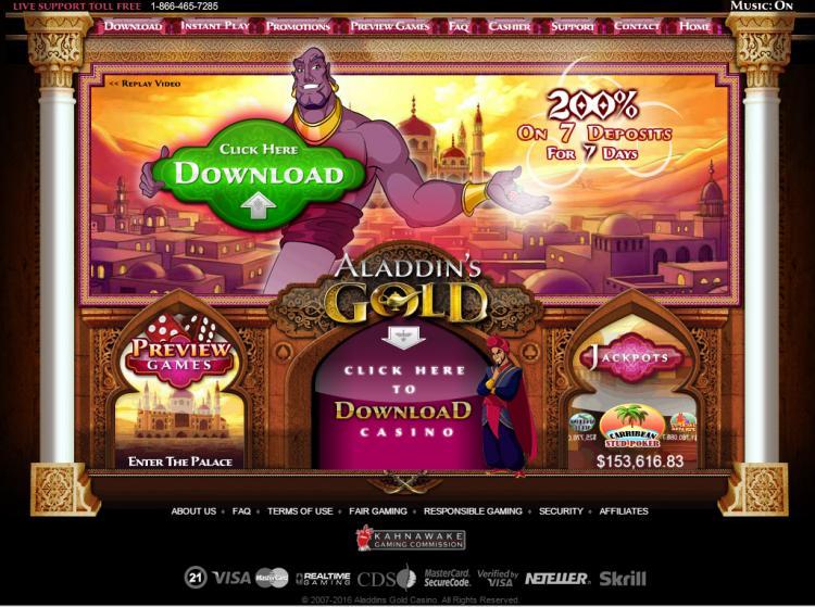 Aladdins Gold homepage image