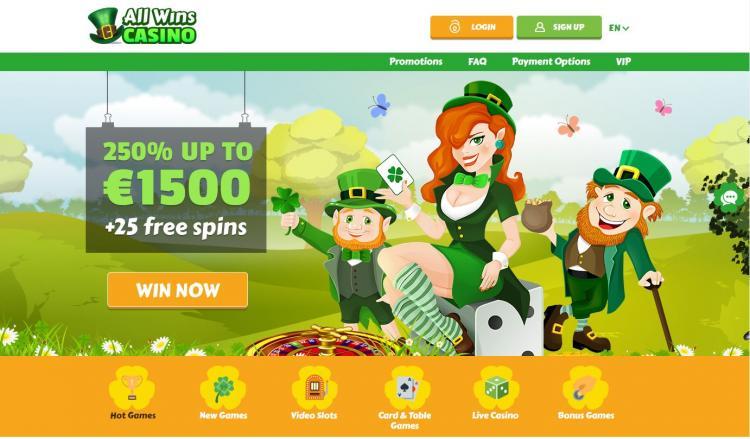 All Wins Casino homepage image