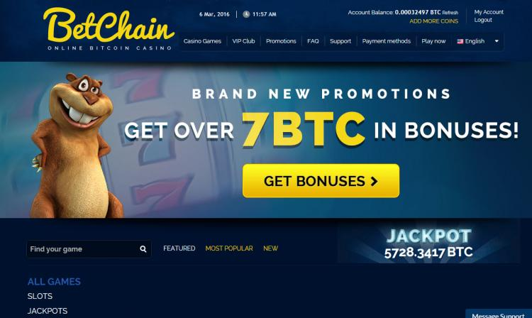Betchain homepage image