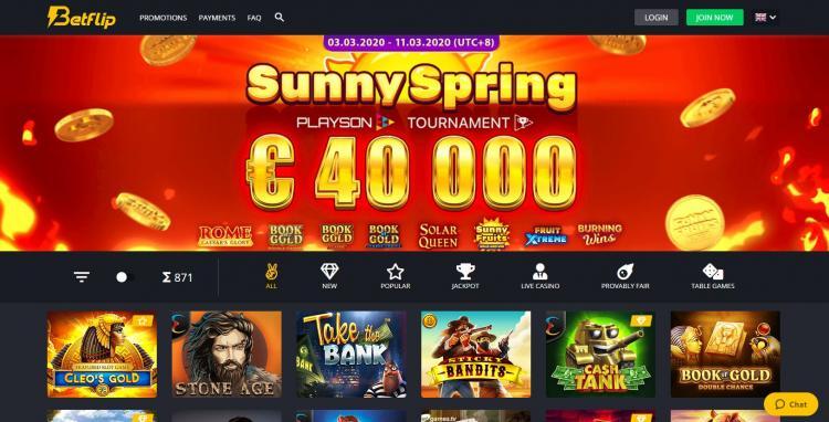 Betflip Casino homepage image