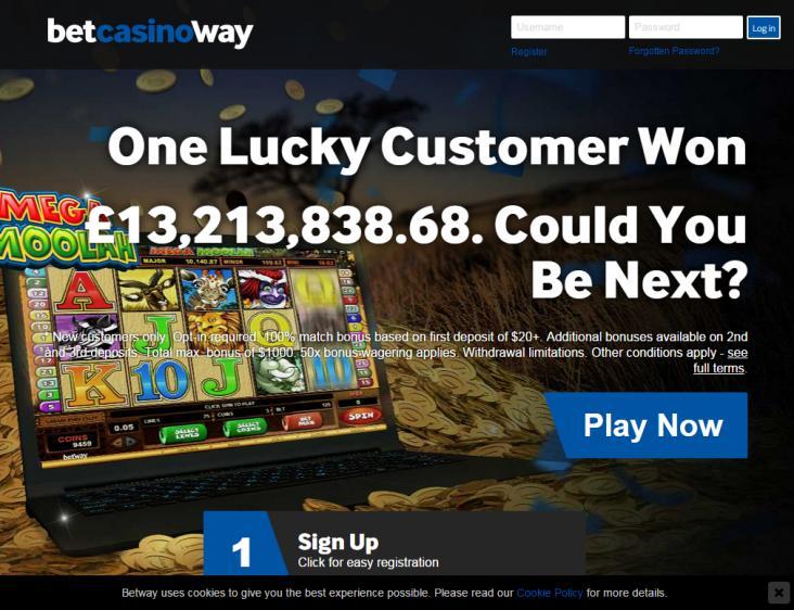 Betway homepage image