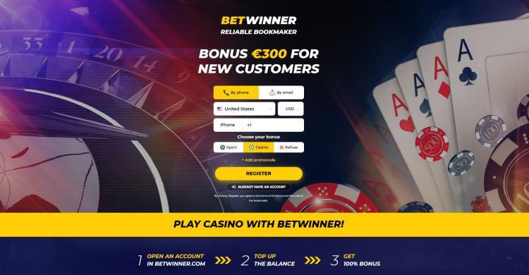 Betwinner homepage image