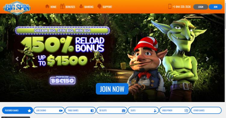 Big Spin homepage image