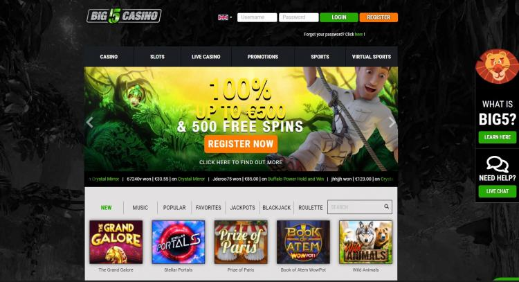 Big5 Casino homepage image