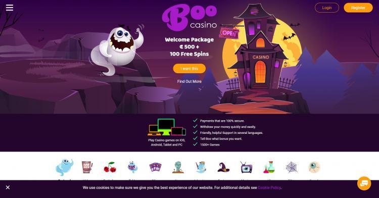 Boo Casino homepage image