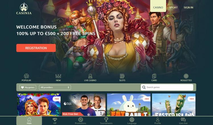 Casinia homepage image