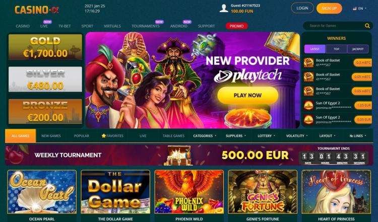 Casino Alpha homepage image