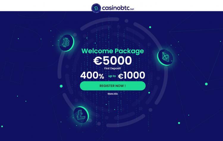 Casino BTC homepage image