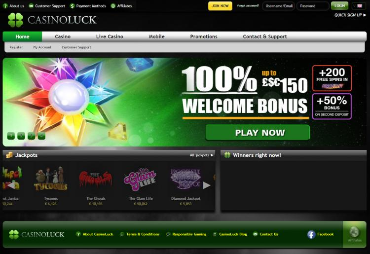 Casino Luck homepage image