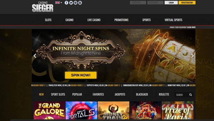 Casino Sieger homepage image