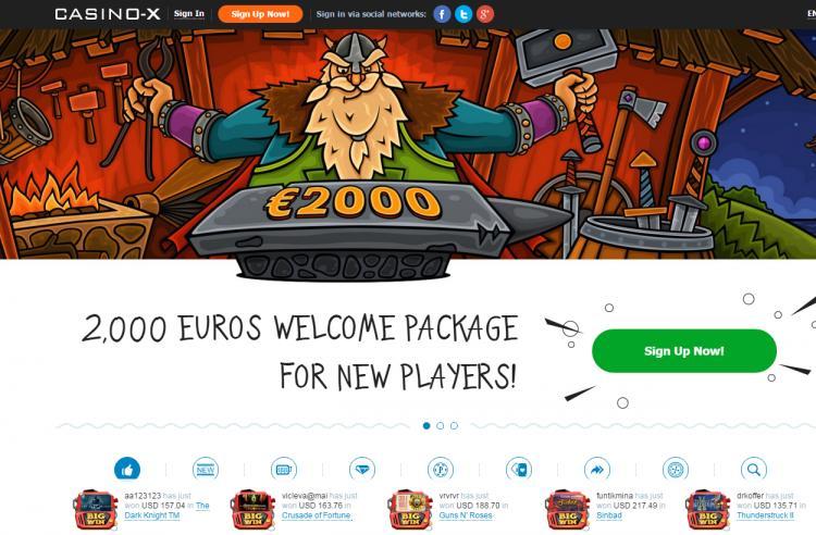 Casino-X homepage image