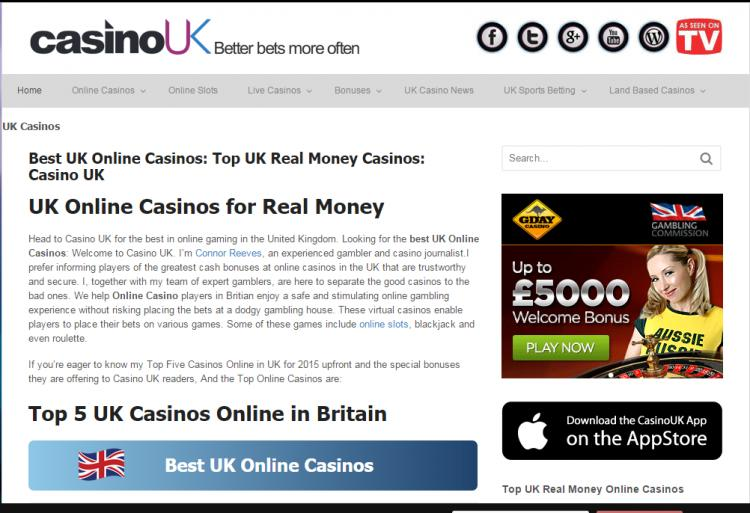 CasinoUK homepage image