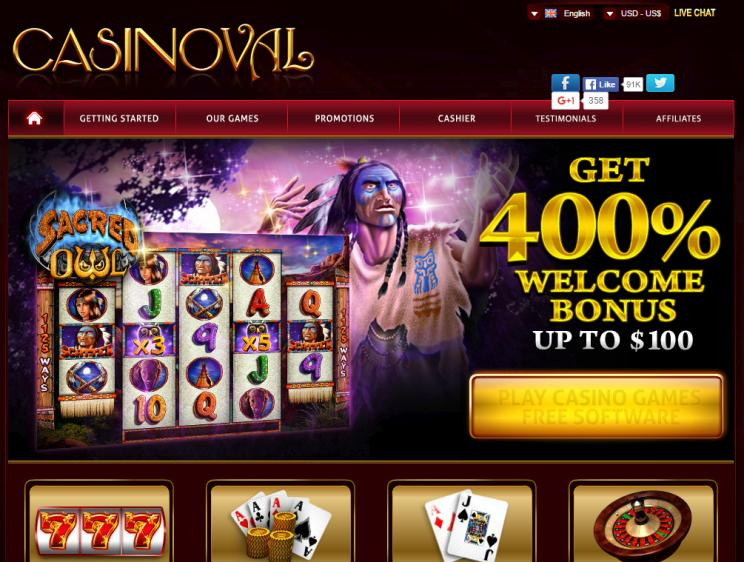Casinoval homepage image