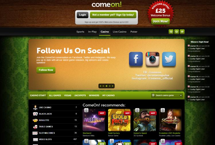 Come On homepage image