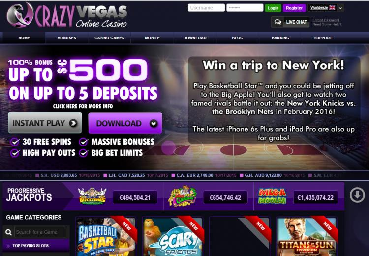 Crazy vegas homepage image