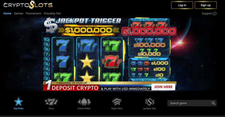 Crypto Slots homepage image
