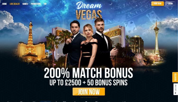 Dream Vegas homepage image
