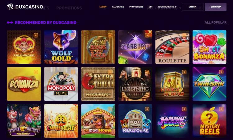 Dux Casino homepage image