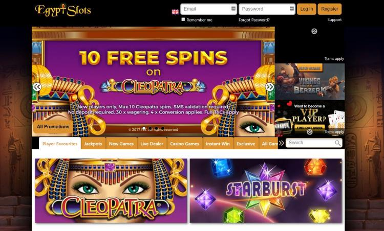 Egypt Slots homepage image