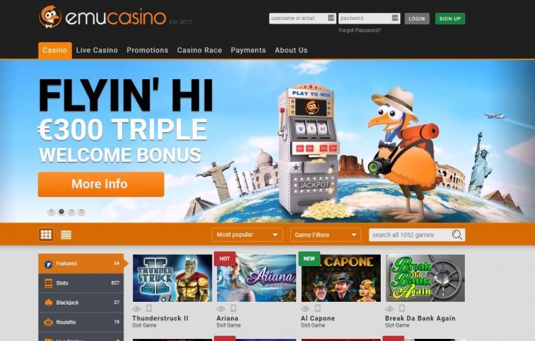 emu Casino homepage image