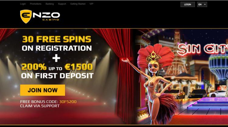 Enzo Casino homepage image