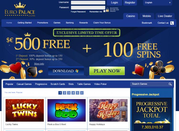 Euro Palace homepage image