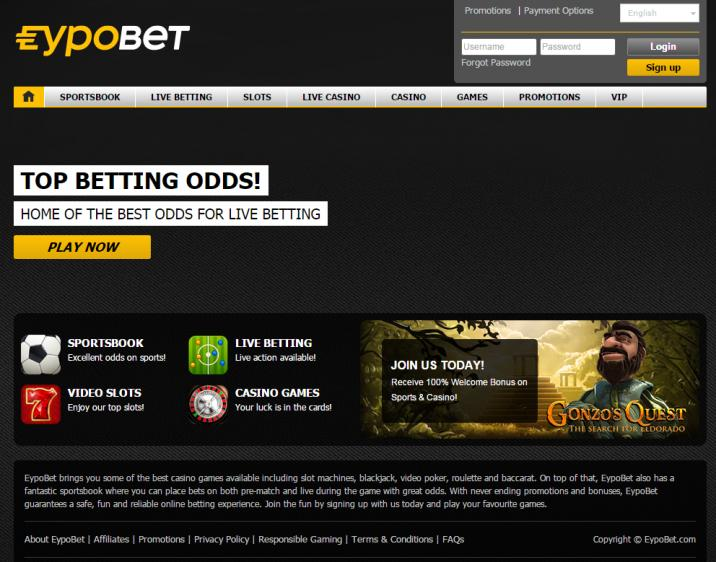 EypoBet homepage image