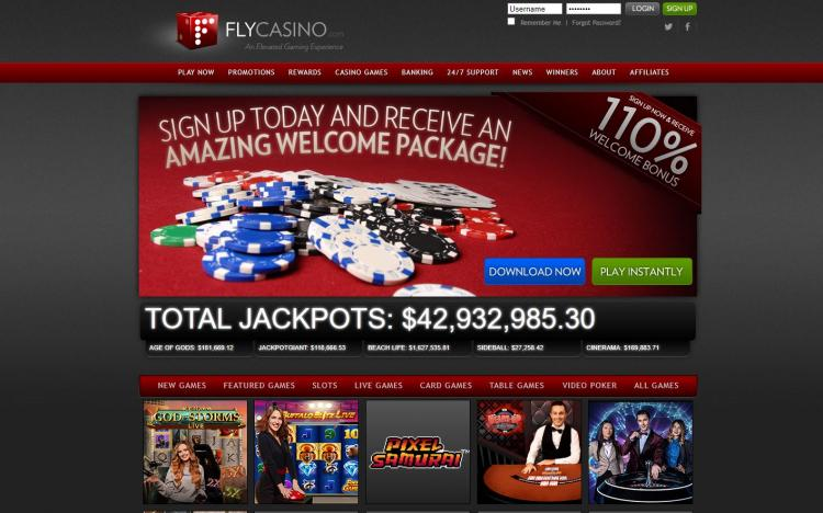 Fly Casino homepage image