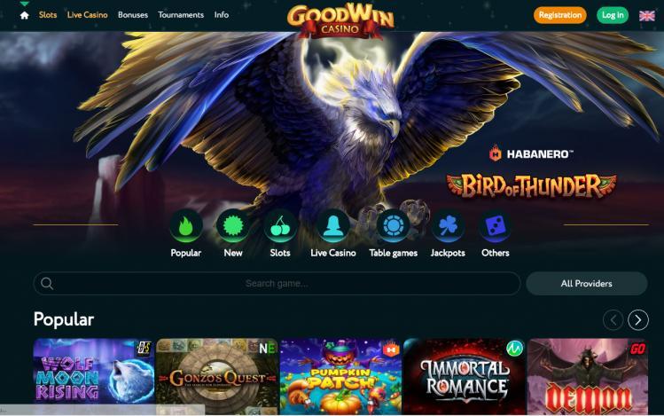 Goodwin Casino homepage image