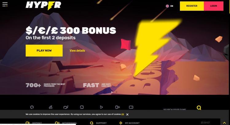 Hyper Casino homepage image