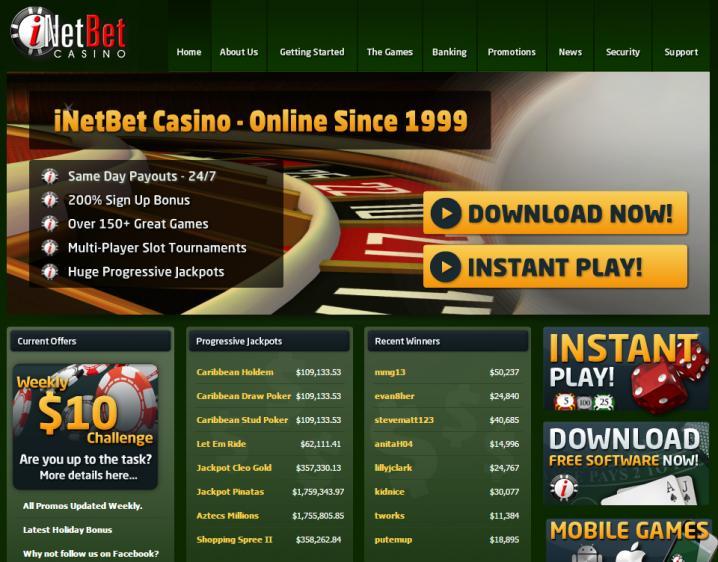 iNET Bet homepage image