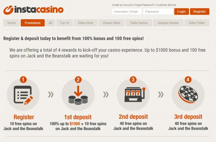 Instacasino homepage image