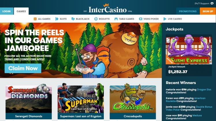 Intercasino homepage image