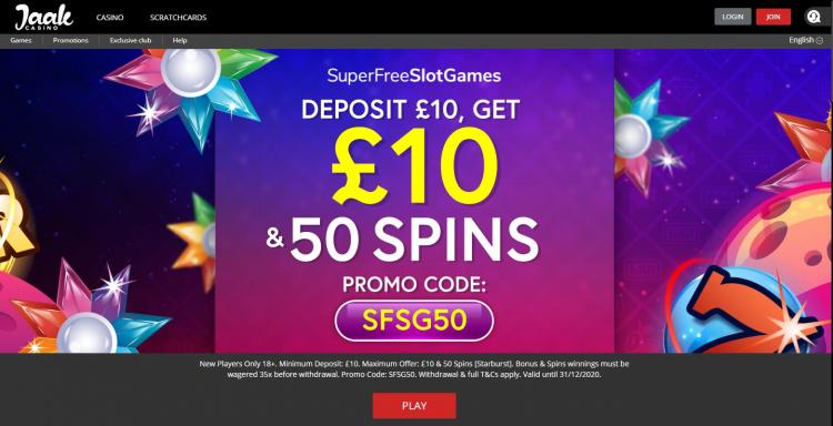 Jaak Casino homepage image