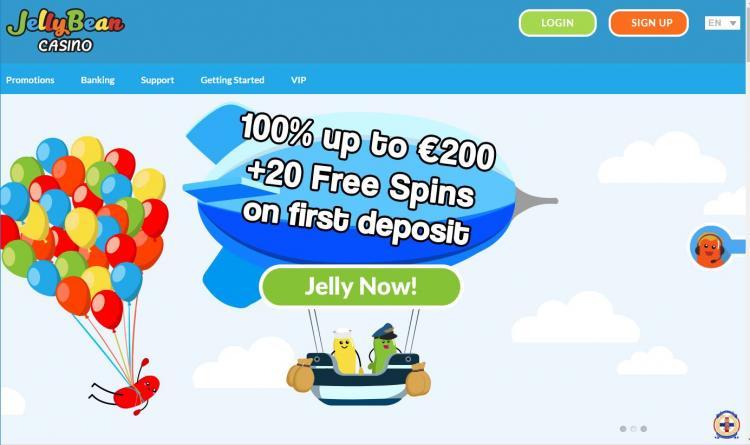Jellybean Casino homepage image