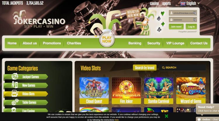 Joker Casino homepage image