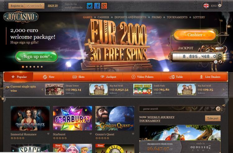 Joy Casino homepage image