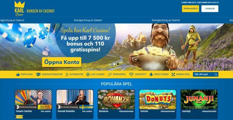 Karl Casino homepage image