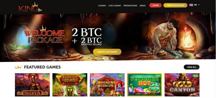 Kingbit Casino homepage image