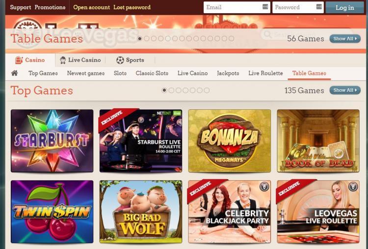 Leo Vegas homepage image