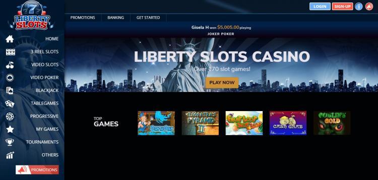 Liberty Slots homepage image