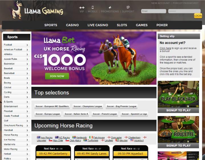 Llama Casino homepage image
