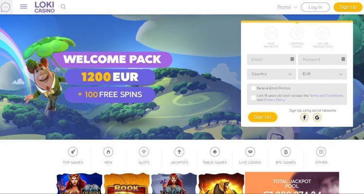 Loki Casino homepage image